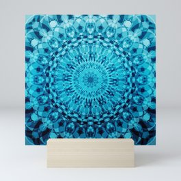Denim Blue Mandala Ombre Tie Dye Mini Art Print