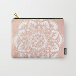 Flower Mandala on Rose Gold Carry-All Pouch