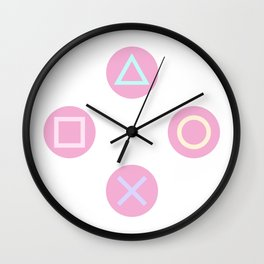 Gamer Girl - Pastel Playstation Controller Buttons Wall Clock