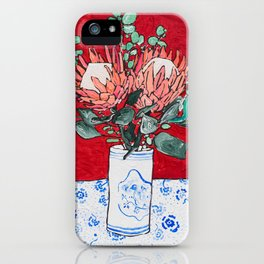 Delft Bird Vase of Proteas on Red iPhone Case