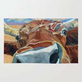 The Boy Down the Street Cow Portrait Rug