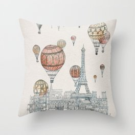 Voyages Over Paris Throw Pillow