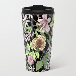 lush floral pattern with bee and beetles I Travel Mug