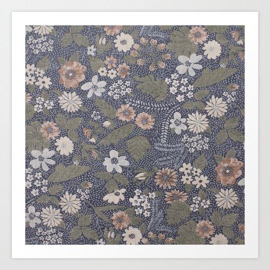 Seafoam Floral Pattern Art Print