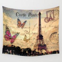 Vintage Paris-Carte Postale Wall Tapestry