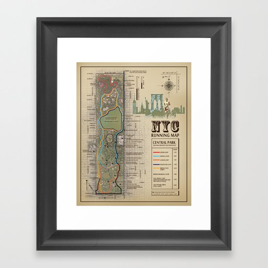 NYC Central Park Running Route Map by kokuadesigncompany