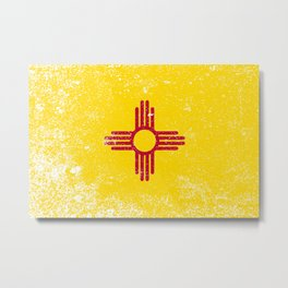 New Mexico State Flag Grunge Metal Print