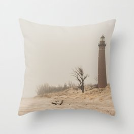 Little Sable Point Lighthouse Lake Michigan Fog Sand Winter Throw Pillow