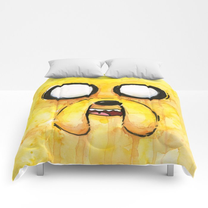 Jake Face Yellow Dog Cartoon Character Comforters