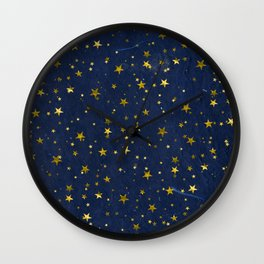 Golden Stars on Blue Background Wall Clock