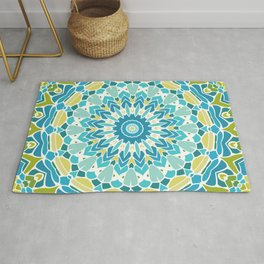 Lime Green and Turquoise Blue Mandala Rug