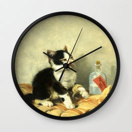 cute kitten 1- Julius Adam - the little patient -1885- pet,whikers,cat,kitty,kitten Wall Clock