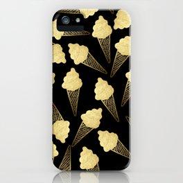 Faux Gold Leaf  Ice Cream Cones on Black iPhone Case