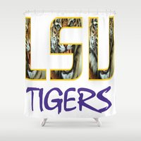 decal Shower Curtains featuring LSU NEW DECAL by The Greedy Fox
