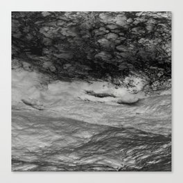 Black Tempest - Abtract Ocean Sea Pattern in Black And White Canvas Print