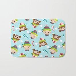 Cute Little Elves Faces Pattern Bath Mat