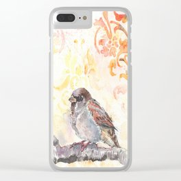Sparrow in a Damask Autumn Clear iPhone Case
