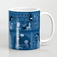 reading Mugs featuring Silence in the Library by Anna-Maria Jung
