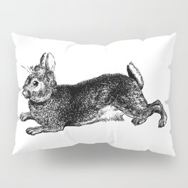 The Rabbit and Roses | Black and White Pillow Sham