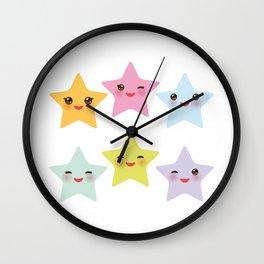 Kawaii stars, face with eyes, pink green blue purple yellow Wall Clock