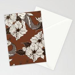 Dark Brown Floral Koi Pattern Stationery Cards