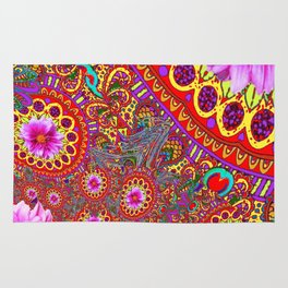 BOHEMIAN  FUCHSIA FLORALS  IN RED-YELLOW COLOR ART Rug
