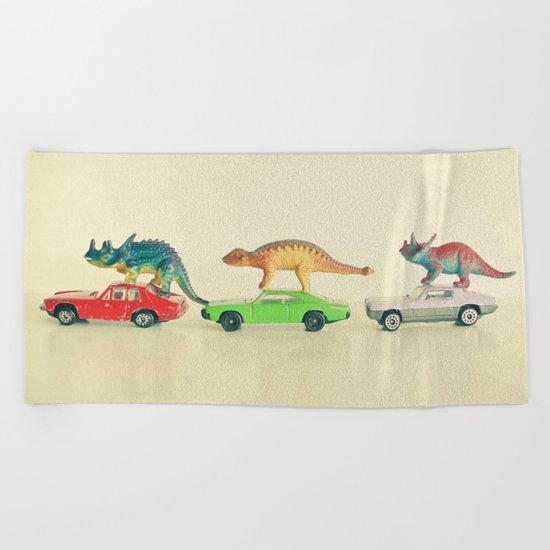 Dinosaurs Ride Cars Beach Towel