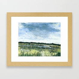 Pallet Knife Painting of the Baker Wetlands with greens and blues. Framed Art Print