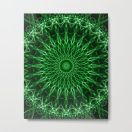 Mandala with dark and light green tones Metal Print