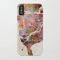 vancouver iPhone & iPod Cases featuring Vancouver by MapMapMaps.Watercolors