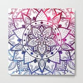 Inner Peace Red Purple Blue Mandala Metal Print