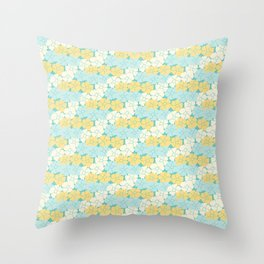 Hana Poppies - Yellow and Teal Throw Pillow