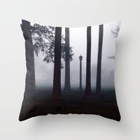 narnia Throw Pillows featuring Misty Park by Lyssia Merrifield