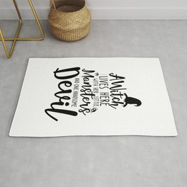 A Witch Lives Here With Her Little Monsters And One Handsome Devil Halloween Quote Art Rug