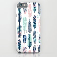 Feathers geometric trendy gender neutral colors modern feather and arrows pattern print dorm college Slim Case iPhone 6