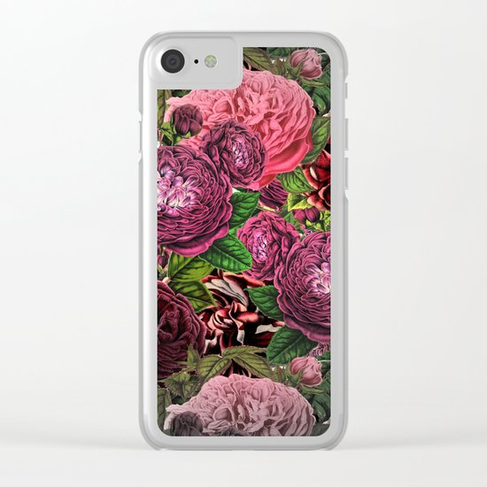Vintage & Shabby-chic -  floral roses flowers watercolor pattern Clear iPhone Case