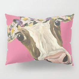Cute Cow Art, Colorful Flower Crown Cow Art Pillow Sham