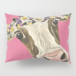 Cute Cow Art, Colorful Flower Crown Cow Art Pillow Sham