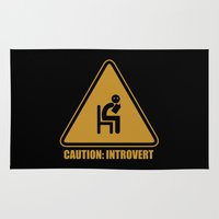 introvert Area & Throw Rugs featuring Caution: Introvert Sign by pretentioustees