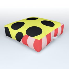 Polka Waves - black and yellow polka dots and red and pink waves Outdoor Floor Cushion