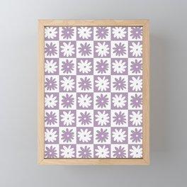 Purple And White Checkered Flower Pattern Framed Mini Art Print