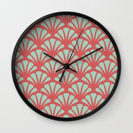 Coral and Mint Green Deco Fan Wall Clock