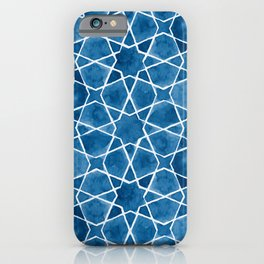 Classic Blue Watercolor Islamic Geometry iPhone Case