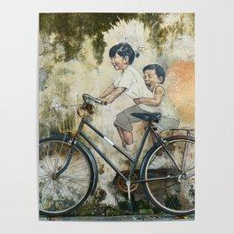 Children Ride Bicycle Graffiti Poster