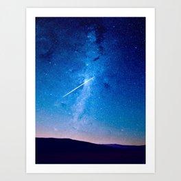 Night Sky Landscape Photography Stars Sky Shooting Star Glowing Milky Way Galaxy Art Print