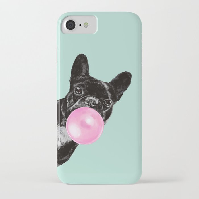 bubble gum sneaky french bulldog in green iphone case