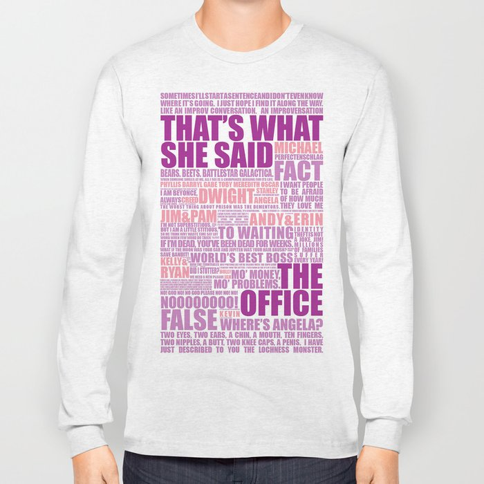 67397065 The Office (Purple and Pink) Long Sleeve T-shirt by stanaitis | Society6