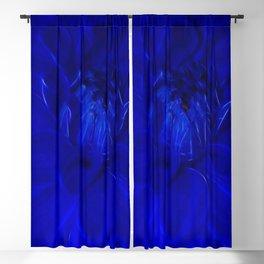 Royal Blue Fractal dahlia Blackout Curtain