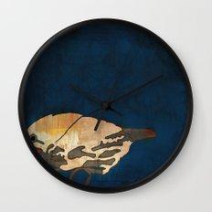 Finch on Blue Wall Clock