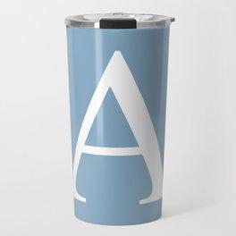 Letter A sign on placid blue color background Travel Mug
